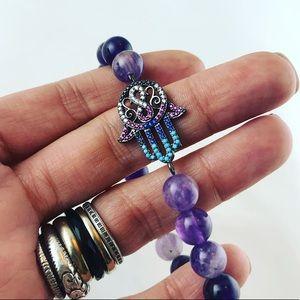 SALE ! Amethyst rodhium plated hamsa bead bracelet
