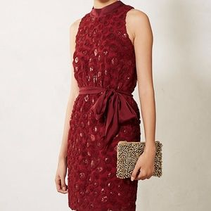 Sachin & Babi Red Rosette Sequin Cutout Dress