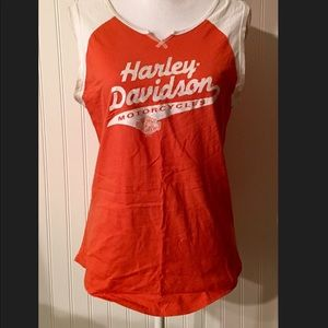 Harley Davidson Sleeveless T Size XL Orange White