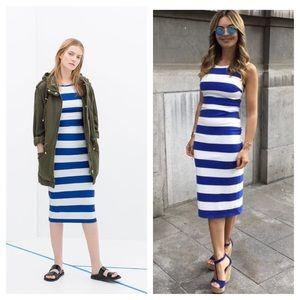 Zara / blue white striped tube tank dress