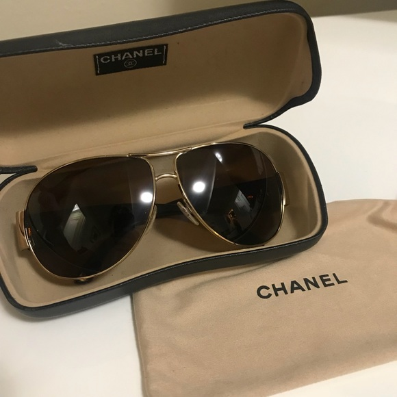3e9e777e0c1fe CHANEL Accessories - CHANEL CC Polarized Gold Brown Aviator Sunglasses