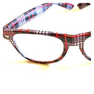 Fashion Eyeglasses Clear Lenses Red Gray Plaid