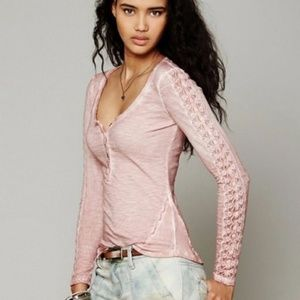 Free People Shell Stitch Lace Henley - Dusty Pink