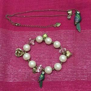 Betsey Johnson Parrot Bracelet/Necklace Set!