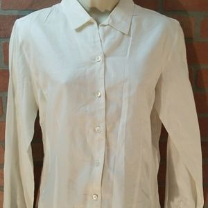 Ann Taylor Sz M Button Up White Dress Shirt