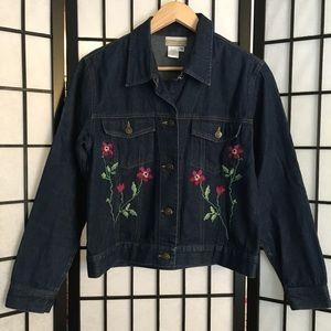 Vintage 90s embroidered denim jacket M women's