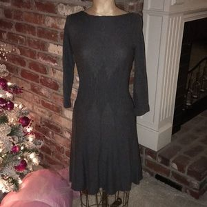 Max Studio Fitted Gray Sweater Dress