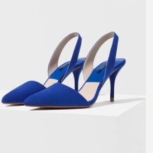Zara Blue Suede Slingback Heels