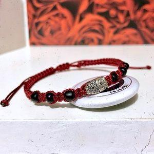 Silver Plated Owl🦉Burgundy Thin Thread Bracelet