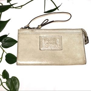 Coach Daisy Champagne Metallic Leather Glam Wallet