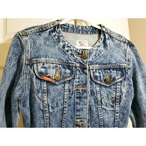 Vintage Jordache Gold Cropped Jeans Jacket Small