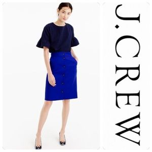 NWT J. Crew Button Front Double Serge Wool Skirt