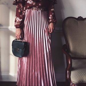 Pleated Metallic Pink Maxi Skirt NWT