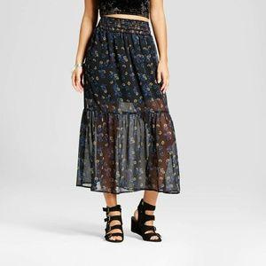 Black Floral Woven Maxi Skirt