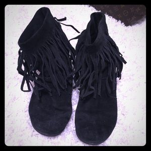 Shoes - Black Fringe Boots (I think it's leather?)