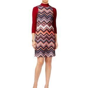 ECI New York Red Chevron Mod-style Shift Dress