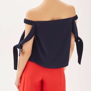 86de80bc02c02 Topshop Tops - TOPSHOP Tie Sleeve Structured Bardot Top