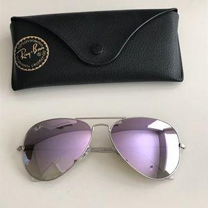 Ray-Ban Aviator Silver/Purple Matte Sunglasses