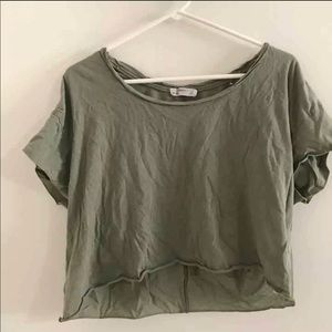 zara green body crop top