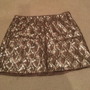 F21 gold sequin mini skirt