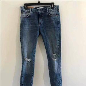 zara frayed denim jeans