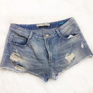Zara Trafaluc Distressed Denim Shorts
