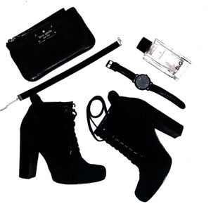 Nine West checkit black suede leather booties