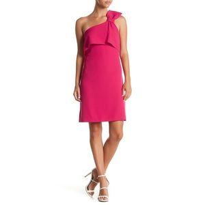 Adrianna Apell Pink One Shoulder Sheath Dress