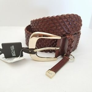 NWT MICHAEL KORS BROWN BRAIDED LEATHER GOLD BELT