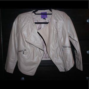 faux leather tan moto jacket