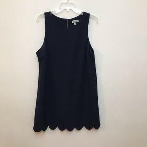 Monteau Shift Dress, Scallop Hem, Sleeveless, Zip