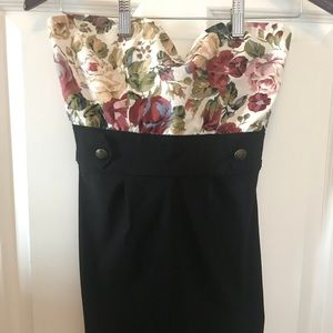 Forever 21 floral strapless dress size S