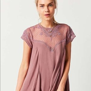 Pink/Dusty Pink lace shift/trapeze dress UO