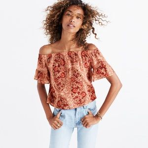 MADEWELL silk off-the-shoulder top paisley