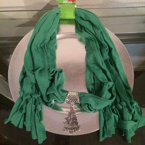 Accessories - Holiday Scarf  Silver Dangle Christmas Tree Charm
