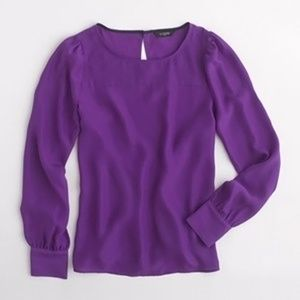 J. Crew Factory Boatneck Blouse in Jewel Purple