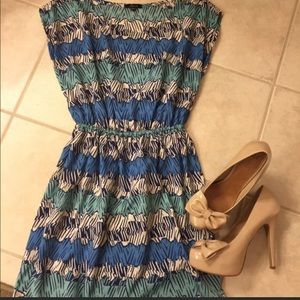Blue abstract printed dress with cinched waist