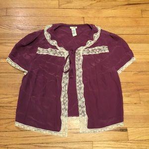 Anthropologie Odille purple silk top - sz 8