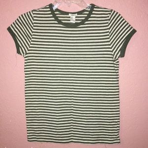White and Green striped T-Shirt