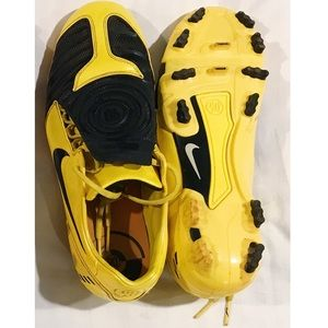 Yellow and Black Nike Total 90 soccer cleats
