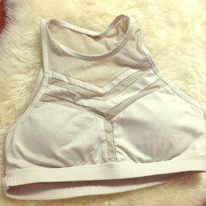 White crop top built in athletic bra.