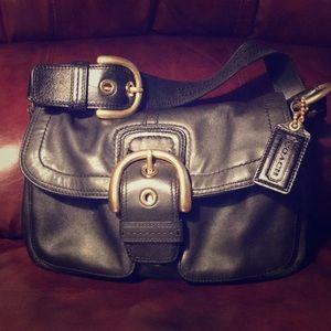Authentic Black Leather Coach Soho Legacy Handbag!