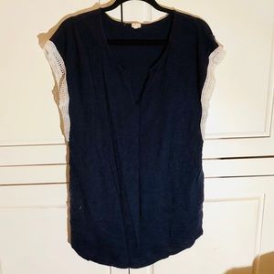 J. Crew Navy Cotton Tunic w/ white embroidery