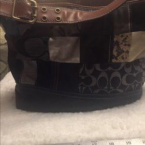 Coach denim patchwork bucket bag