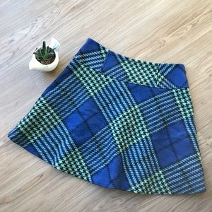 Boden Houndstooth Plaid A Line Wool Skirt Size 4P