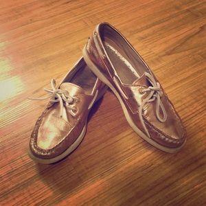 Sperry Metallic Rose Gold Boat Shoe