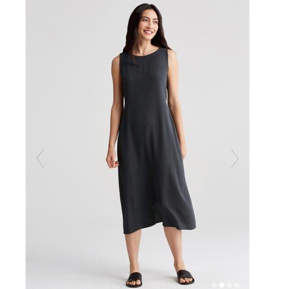 2f63575c6e Eileen Fisher SILK BATEAU NECK SLEEVELESS DRESS