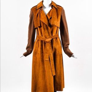 Derek Lam Leather and Wool Trench Coat