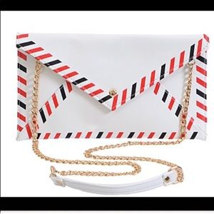 Handbags - Mail Clutch White Red Blue Envelope Hand Bag Chain