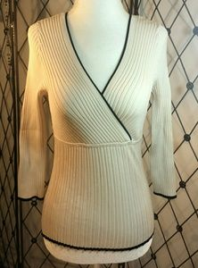 WHBM Ivory Ribbed Sweater